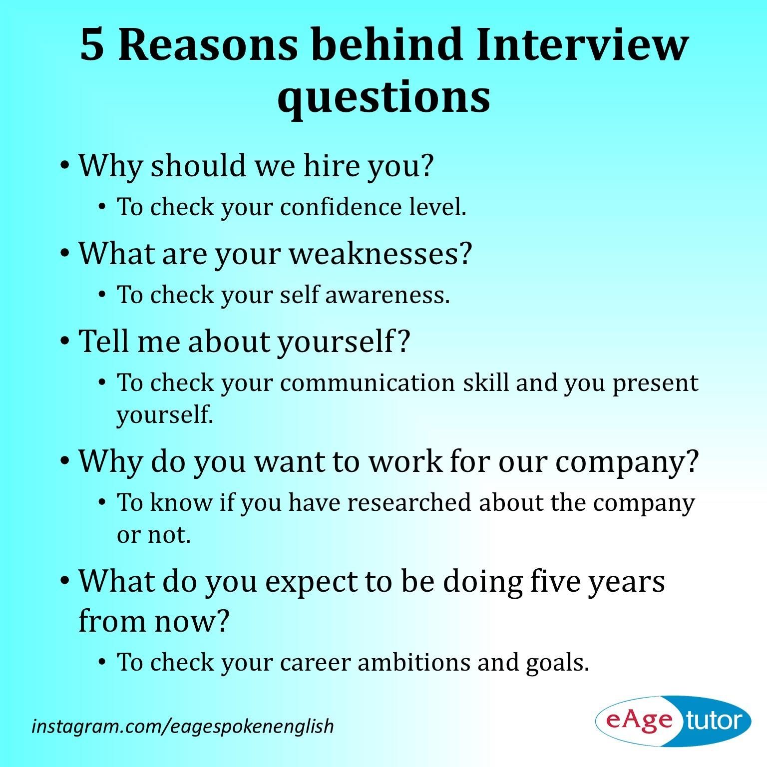 5 Reasons Behind Interview Questions Interview Help