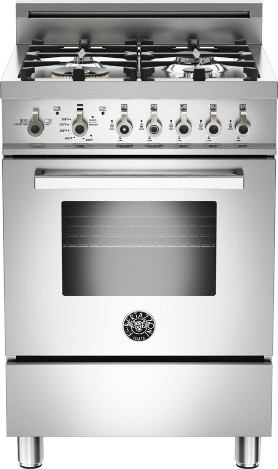 Bertazzoni Pro244gas 24 Inch Pro Style Gas Range With 4 Sealed Aluminum Burners 2 4 Cu Ft Convection Oven Manual Clea Gas Oven Gas Range Vintage Tub Bath