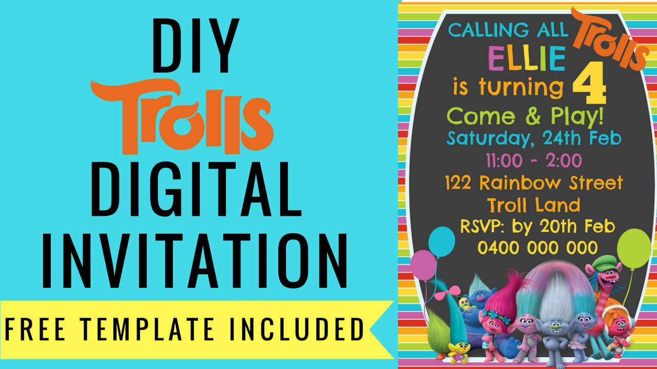 FREE Trolls Digital Invitation