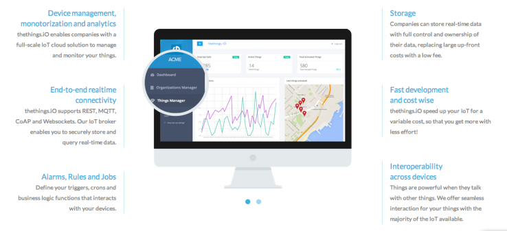 thethings.iO Raises $270K –  Internet of Things startup thethings.iO has raised $270K. The startup's cloud layer offers analytics, storage, APIs and tools for managing and monitoring connected devices, interoperability with other IoT devices. http://techcrunch.com/2015/07/07/thethings-io/