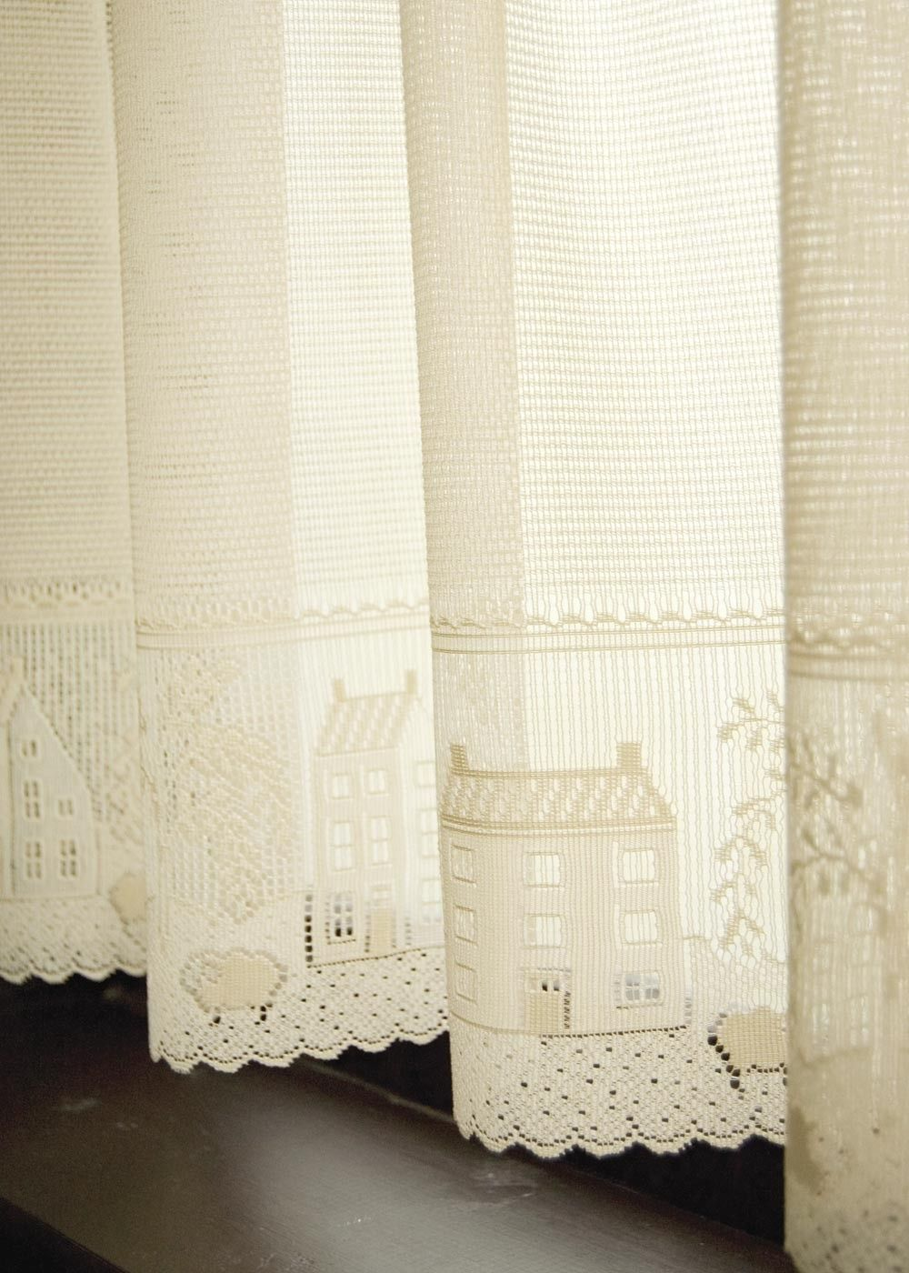 primitive country willow lace curtain valance in ecru and white by ...
