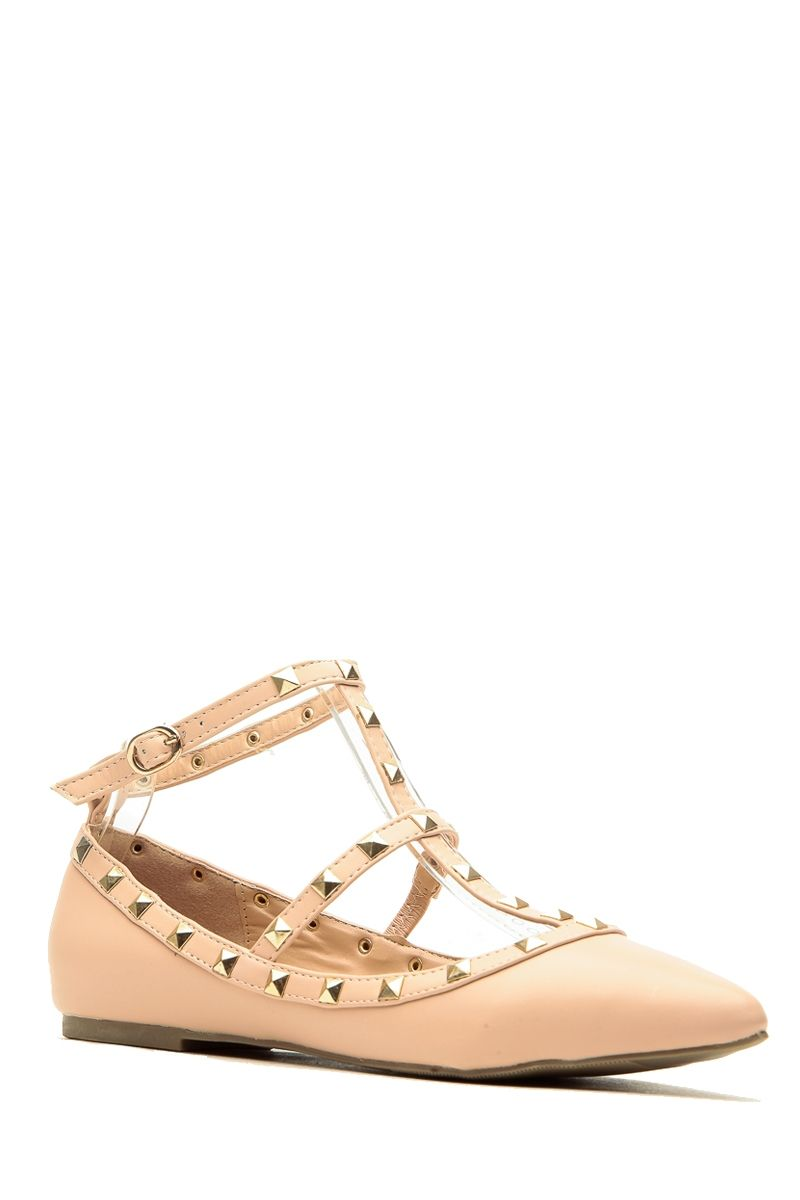 881df346ca Nude Faux Leather Studded Pointed Toe Ankle Strap Flats @ Cicihot Flats  Shoes online store:Women's Casual Flats,Sexy Flats,Black Flats,White Flats, Women's ...