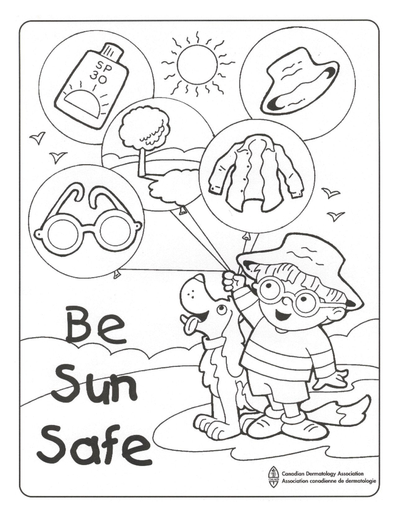 Colouring pages for sun - Sun Safe Colouring Sheet