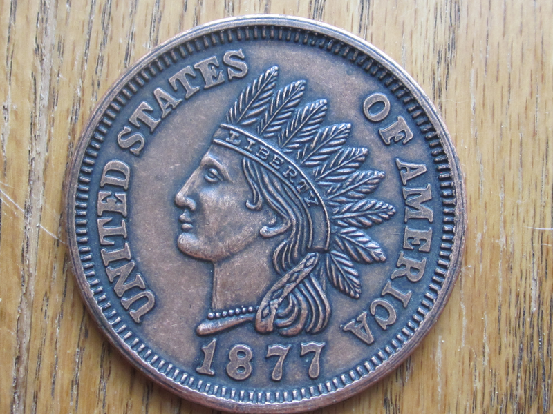 Vintage Large One Cent 1877 Indian Head Penny Novelty Coin