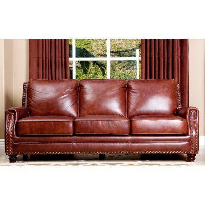 Phenomenal Abbyson Bel Air Hand Rubbed Leather Sofa Chestnut Brown Inzonedesignstudio Interior Chair Design Inzonedesignstudiocom