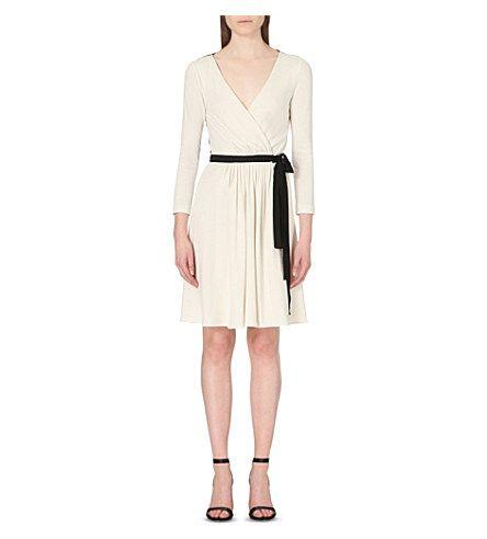 68a09ea6a4da DIANE VON FURSTENBERG Seduction wool-jersey wrap dress (Ivory/black ...