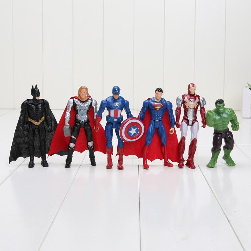 6pcs Superhero Marvel Avengers Action Figures Gift Children/'s Toys hulk spiderma