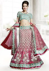 Light Pink Net Lehenga Choli with Dupatta
