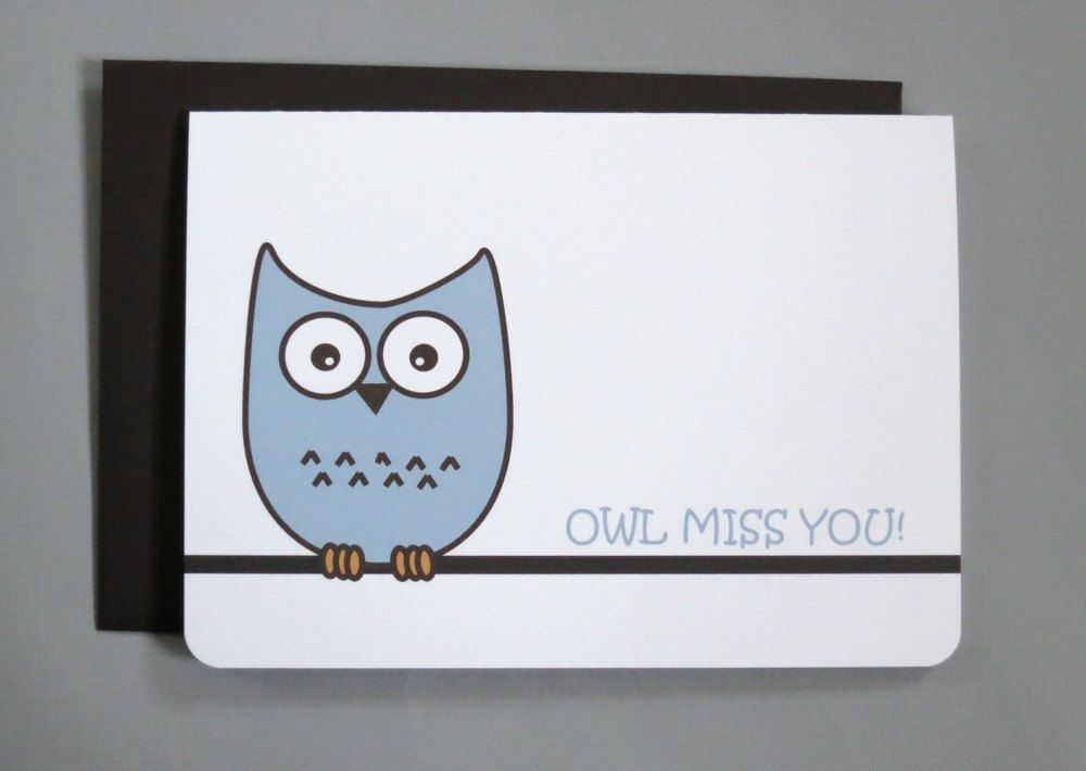 Owl Miss You Farewell Bar Folded Card  Via Etsy  Greeting