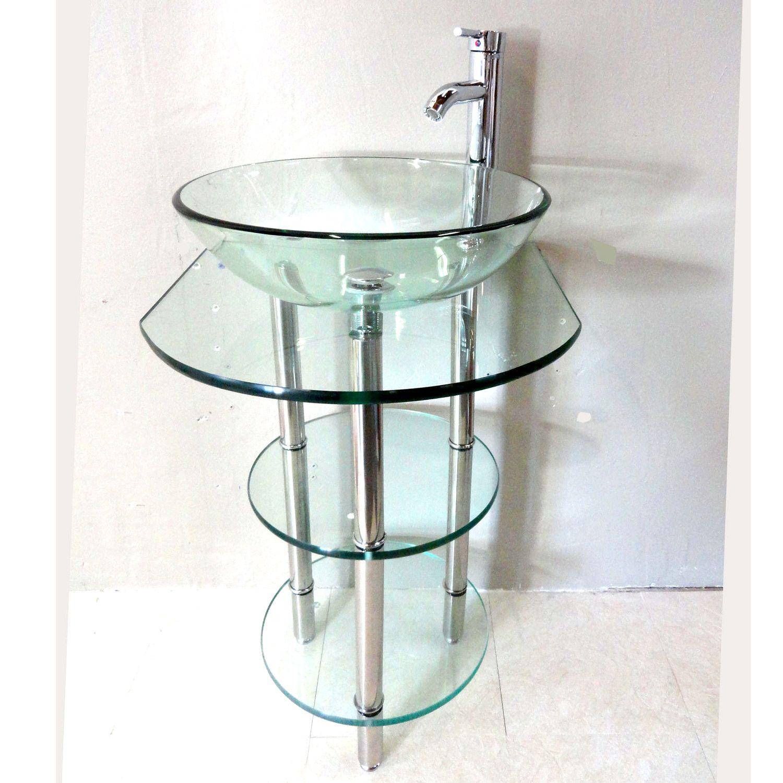 Clear Tempered Glass Pedestal Vanity And Sink Combo By Kokols. Modern Bathroom  SinkGlass BathroomSmall ...