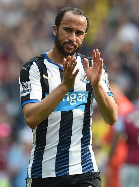 Newcastle United's English midfielder Andros Townsend applauds supporters on the pitch after the English Premier League football match between Aston Villa and Newcastle United at Villa Park in Birmingham, central England on May 7, 2016..The game ended 0-0. / AFP / Paul ELLIS / RESTRICTED TO EDITORIAL USE. No use with unauthorized audio, video, data, fixture lists, club/league logos or 'live' services. Online in-match use limited to 75 images, no video emulation. No use in betting, games or…