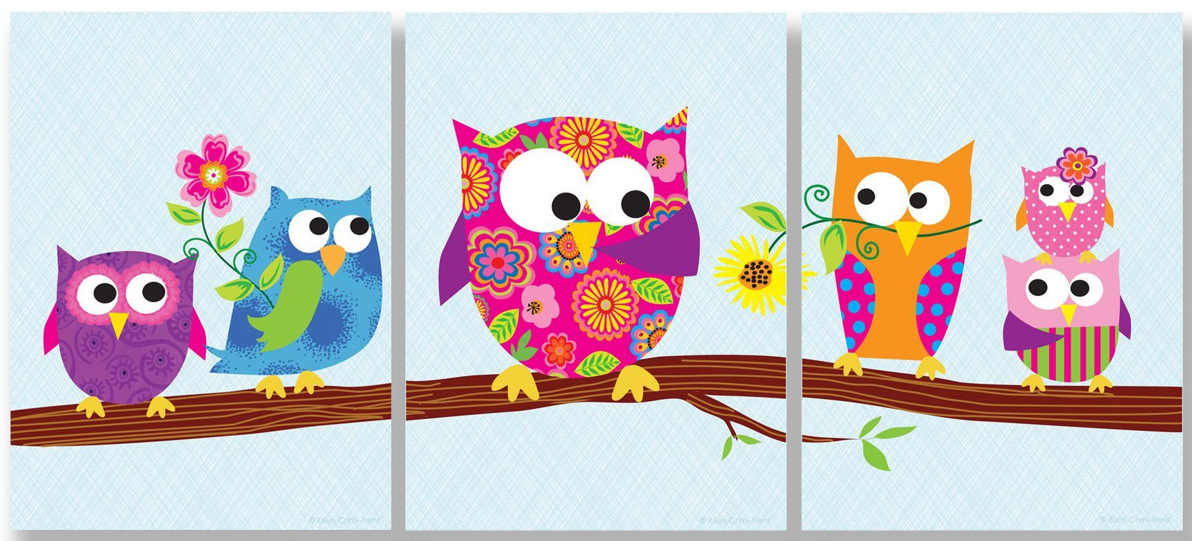 The kids room owls on branch triptych pc wall plaque set
