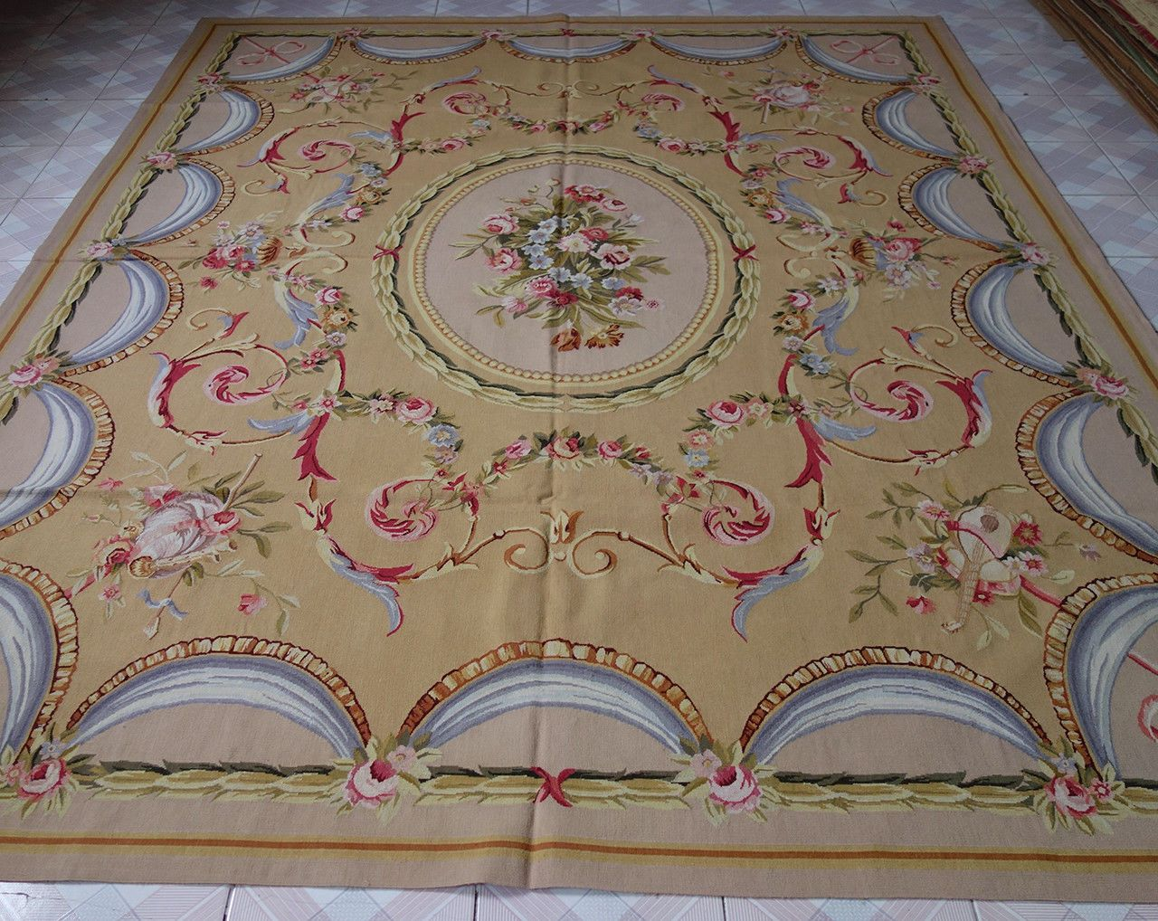 8 X 10 Beautiful Hand Woven Rose Medallion Fl Aubusson Rug Ebay