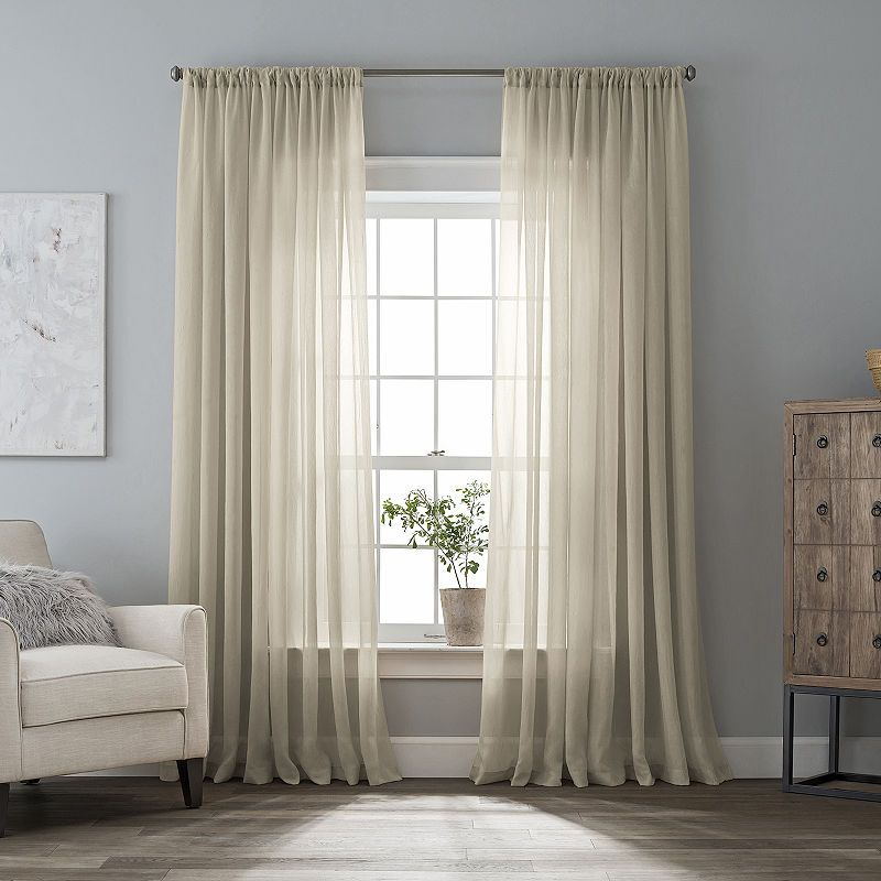 Home Expressions Crushed Voile Rod Pocket Sheer Curtain