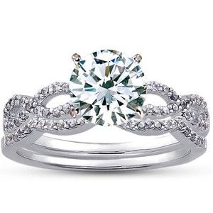 Infinity Diamond Ring Matched Set - An engagement and wedding band combo