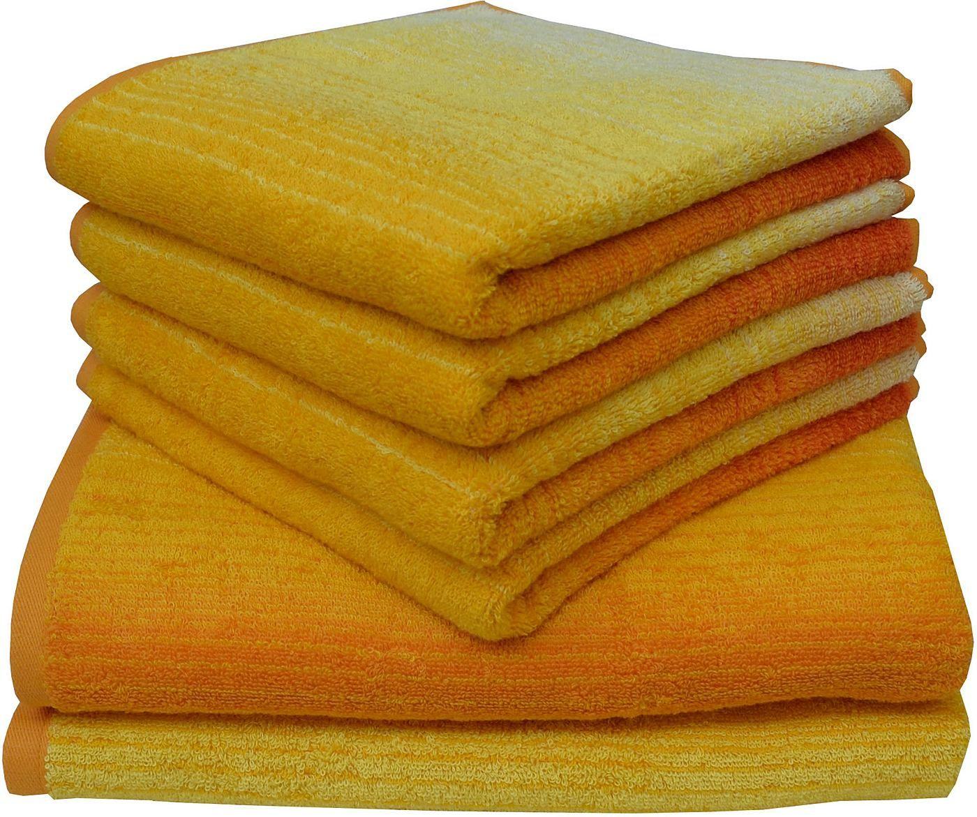 »Colori« ist das neue Handtuch Set der Marke Dyckhoff mit harmonischen Farbverläufen und brillianten Farben. Leichte Streifen lassen das Design noch mehr hervortreten und sind optisch noch ein besonderes Highlight. Die feine Qualität aus Walkfrottier Material ist aus 100% BIO-Baumwolle hergestell. Diese Baumwolle stammt aus kontrolliert ökologischem Anbau und ist besonders hautfreundlich. Das M...