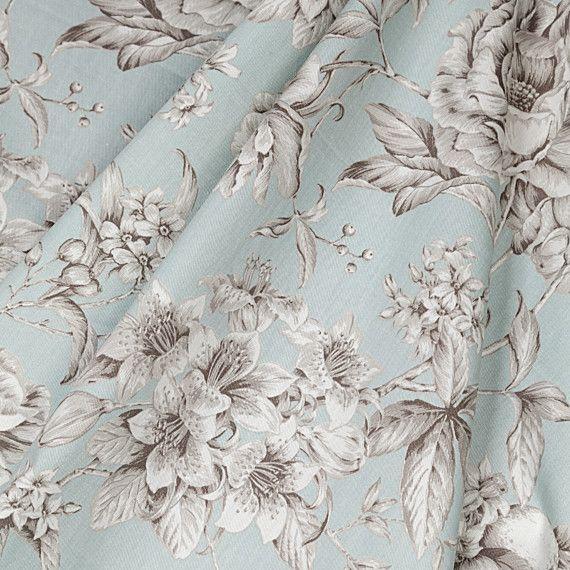 Light Blue Floral Toile Sateen Fabric   Secret Garden : Mist ...