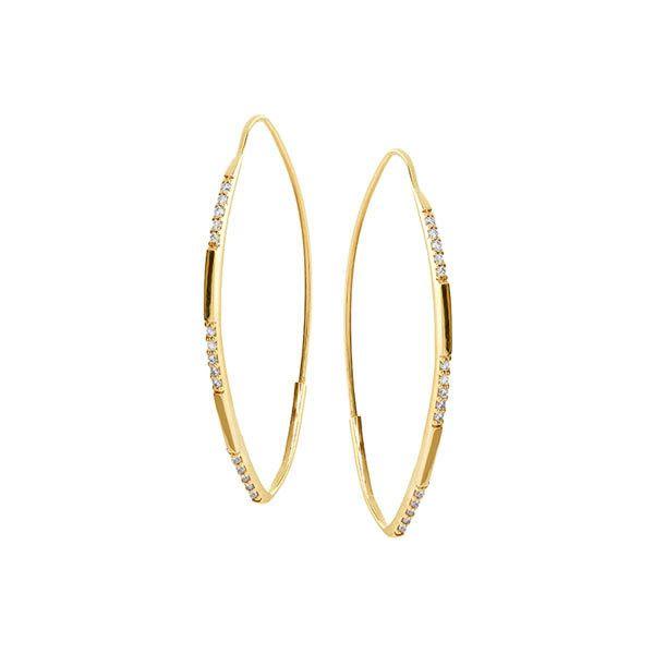 Lana Jewelry 14K Small Expose Hoop Earrings with Diamonds ddO4avICVk