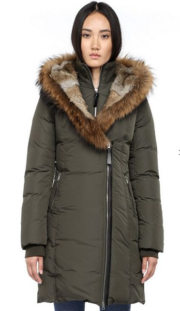 Mackage TRISH F4 long women Winter Parka with FUR HOOD Down Jackets Green  Black