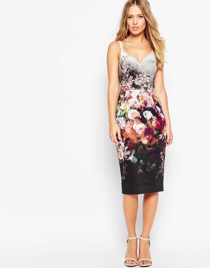 Image 1 of ASOS Hitchcock Midi Pencil Dress in Winter Floral