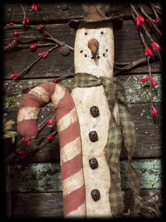Primitive Christmas Skinny Skiing Snowman by rockriverstitches