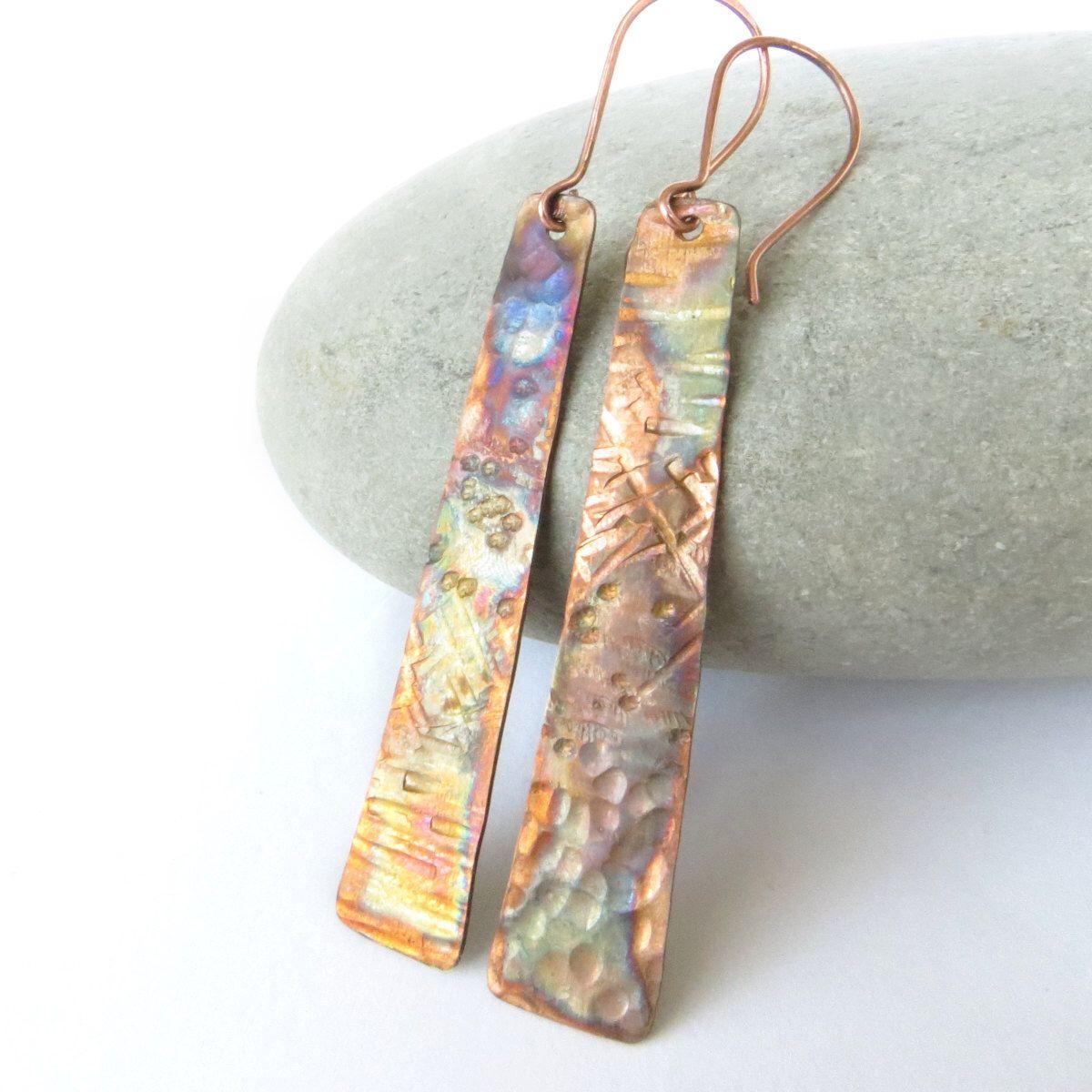 Long copper earrings, Rustic hammer texture, 7th wedding
