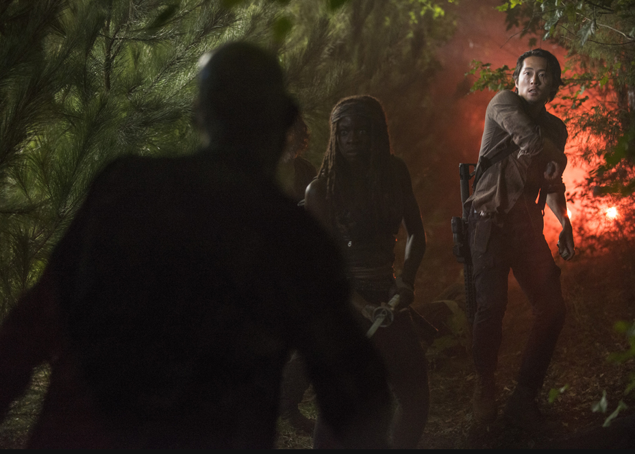 Rick is not perfect and the vehicles are separated and the group runs into trouble on the route Rick chose. Aaron panics and runs off. Glenn finds him and helps him. They reunite with Rick and Michonne. In the distance they see a flare and make their way there on foot.