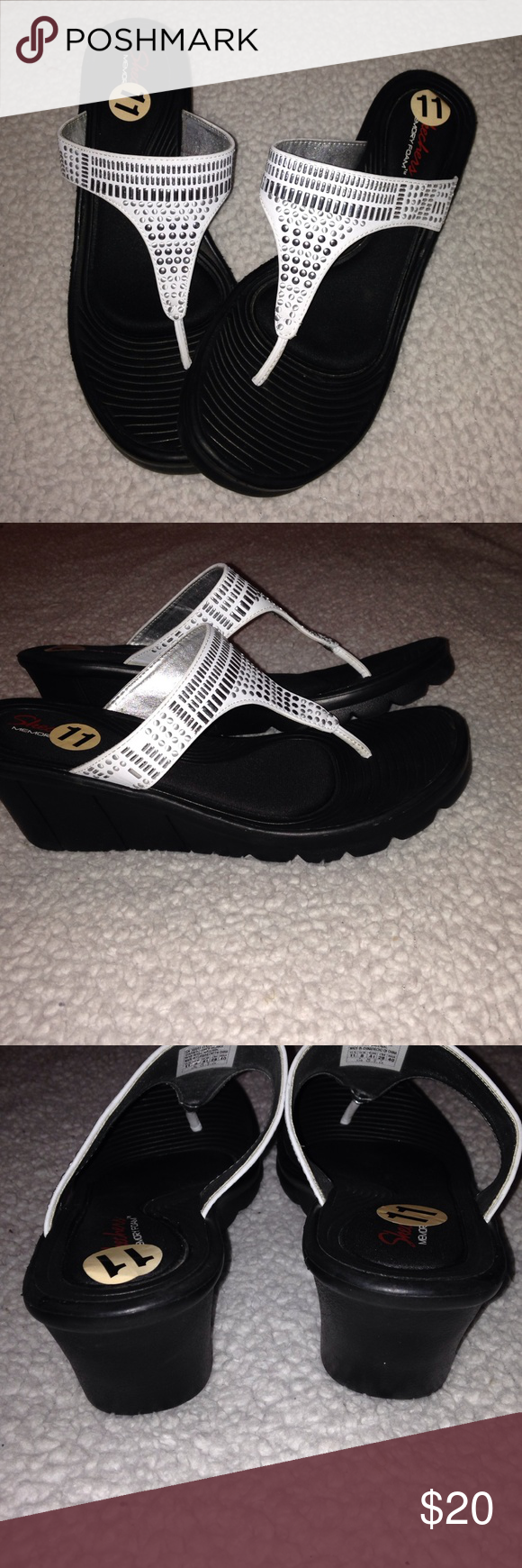 """White Wedge Sandals With Memory Foam By Skechers These sandals are like new. Only wore once to try on. Just too big for me. They have a 2 1/2"""" heel. The memory foam makes them soooo comfyThey are very lightweight as well. No box. Skechers Shoes Sandals"""