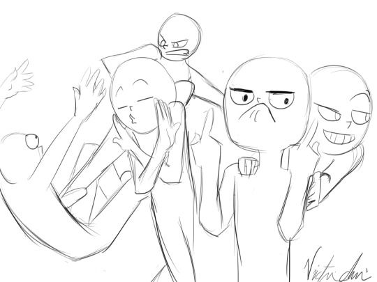 England kicking Spain, France making kissy face, Romano flipping off, Prussia being sneaky