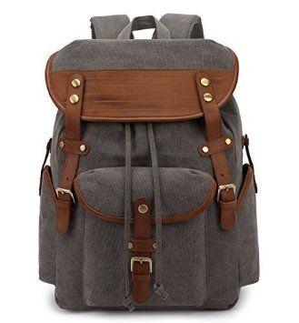 9aa86d3ff32d3 Herren Damen Vintage Rucksack Canvas Rucksack Retro Schulrucksack für  Wandern Schule Laptop(Schwarz