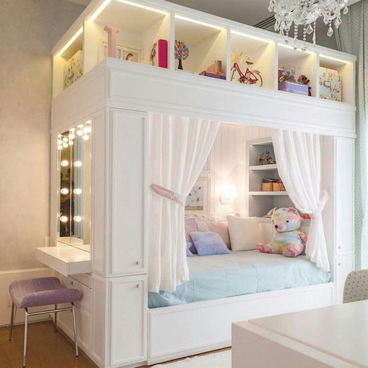Olha essa cama dos sonhos para as pequenas princesas - Habitacion pequena para dos ninos ...