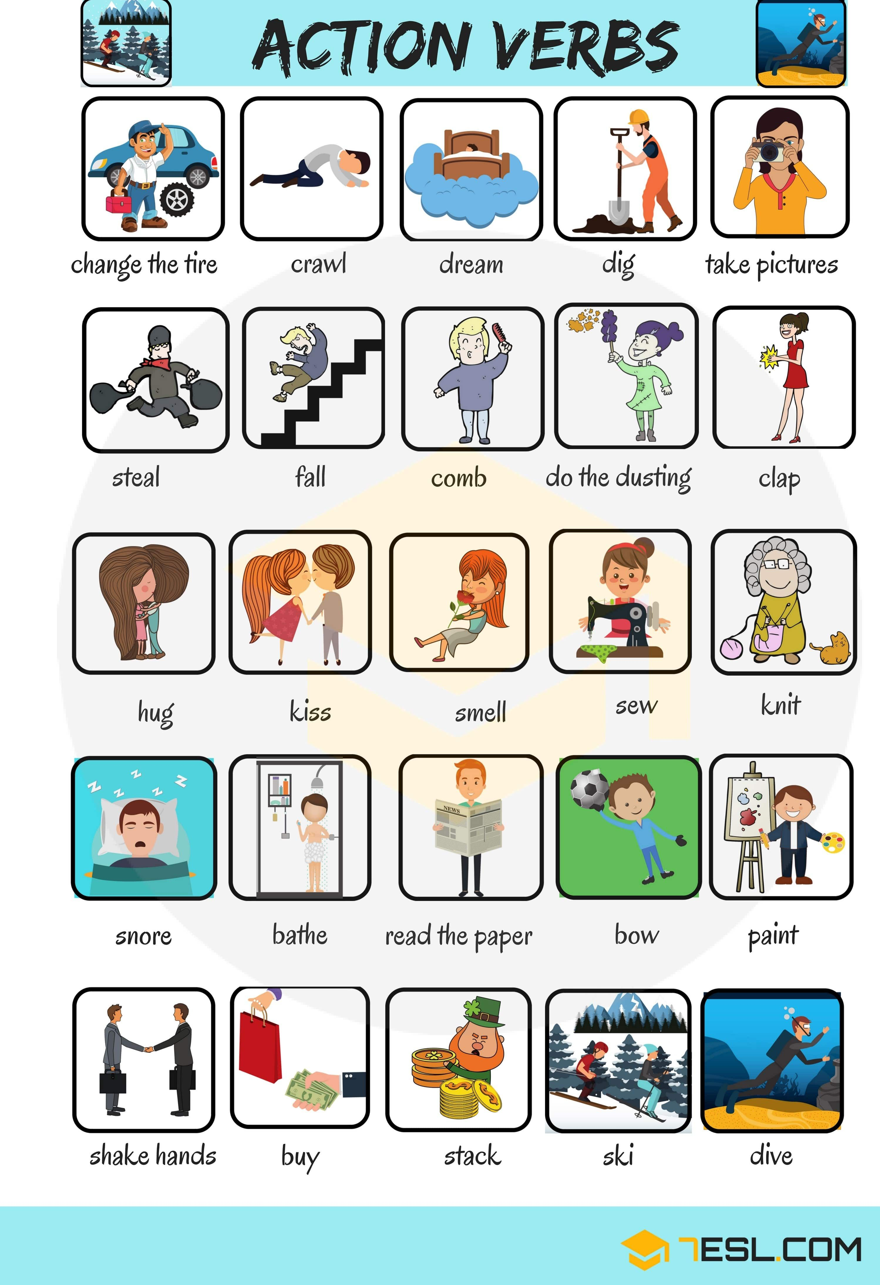 50 common action verbs in english english pinterest english