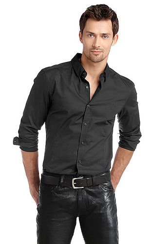 Look fresh with black shirt with black leather pants! | Men's ...