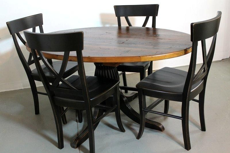 50 round farm style dining table from old pine round