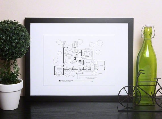 Leave it to Beaver Floor Plan Home of June and Ward Cleaver 1st Floor Hand Drawn Blackline Poster Gift for engineers Gift for her