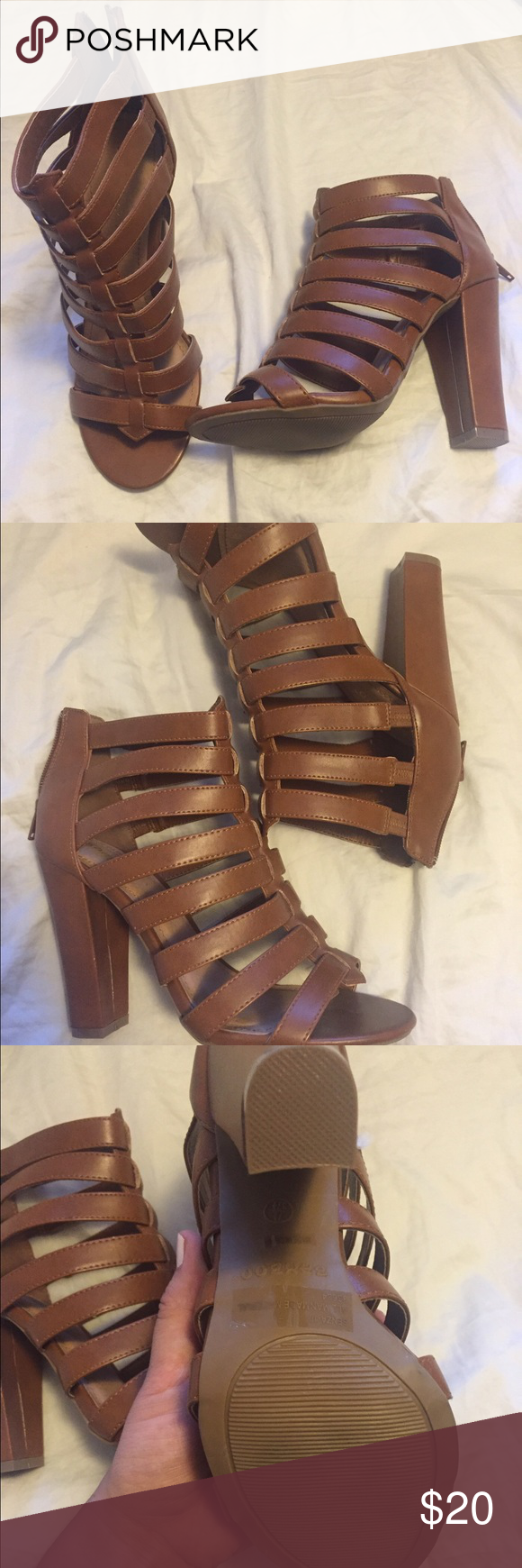 Brown strappy casual heel Brand new, never worn! Zips up in the back and pair it with anything!! Shoes Heels