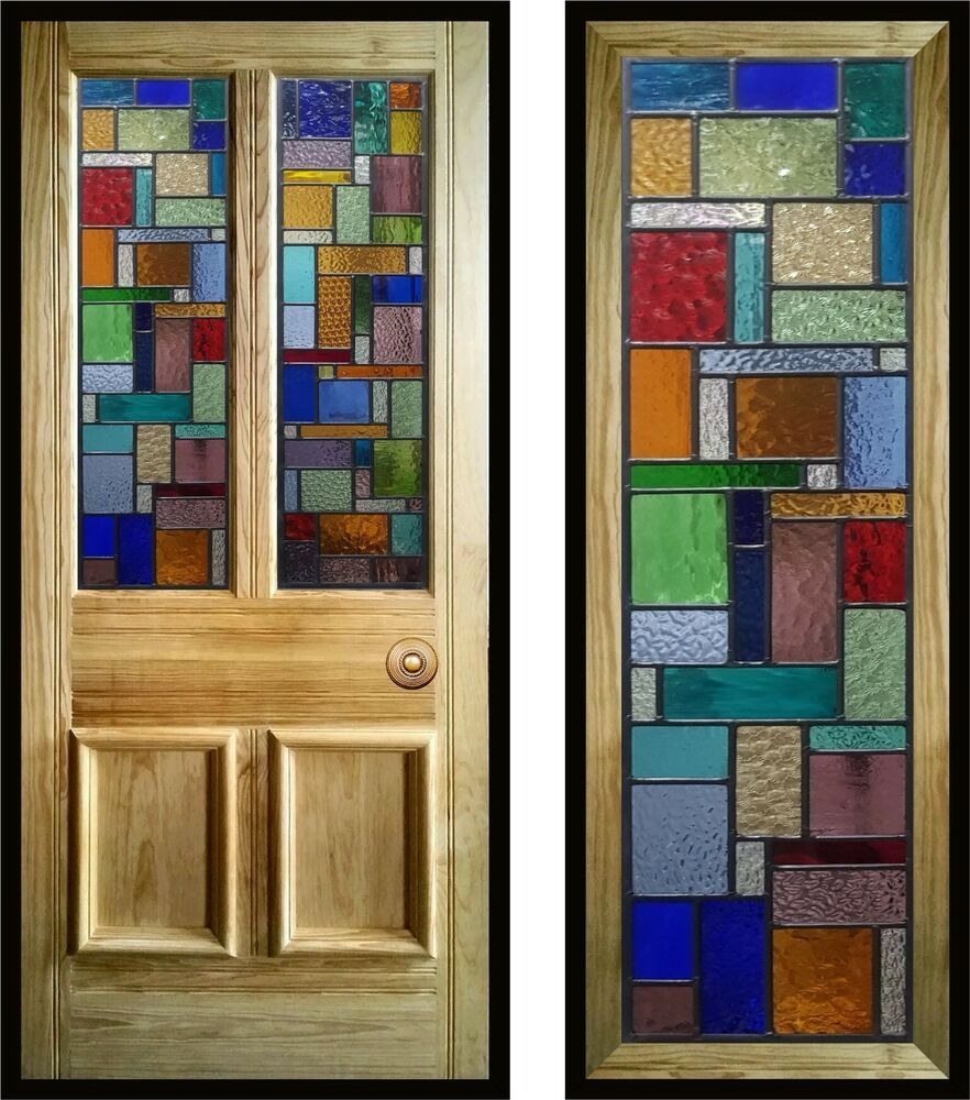 Modern Contemporary Stained Glass Door Panels Handmade To Order Stained Glass Paint Stained Glass Door Stained Glass Crafts