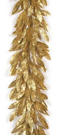 Glittered Bay Leaf Garland Artificial 6 Gold Leaf Garland Flower Pots Glitter Decor