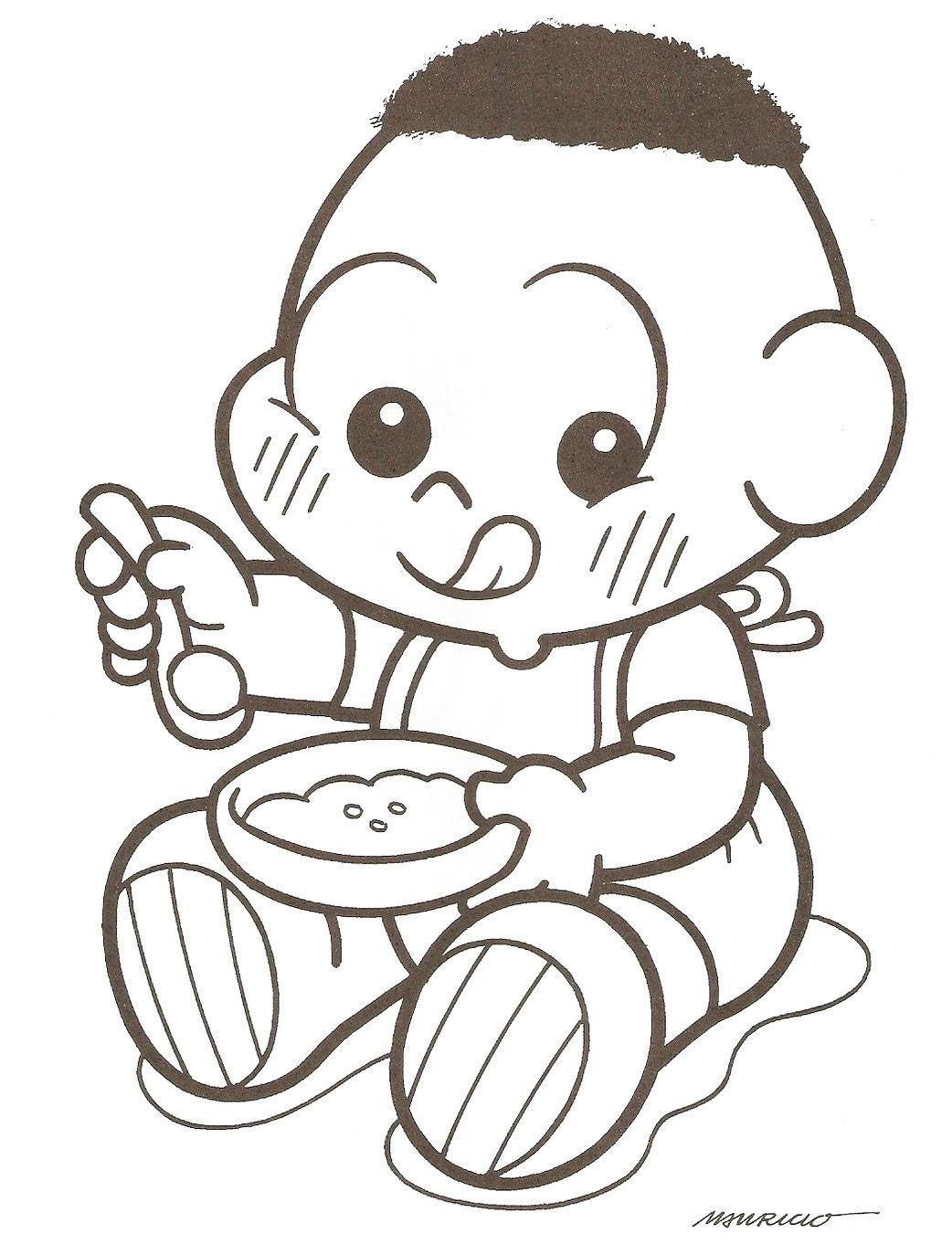 Cascao Bebe Comendo Papinha Desenho Desenhos Colorir