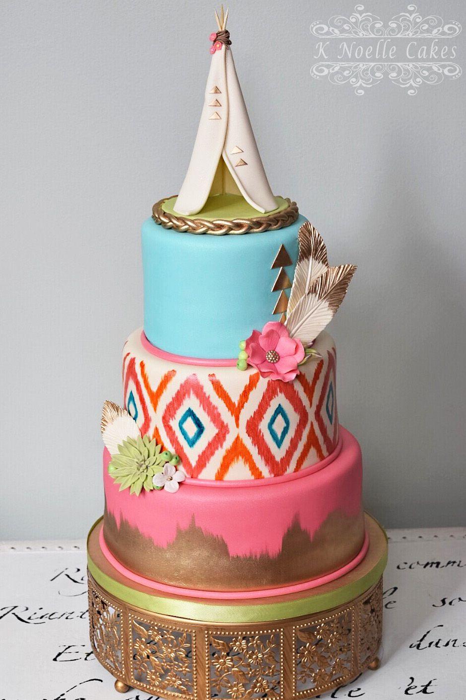 Boho chic birthday cake by k noelle cakes fun hippie party ideas