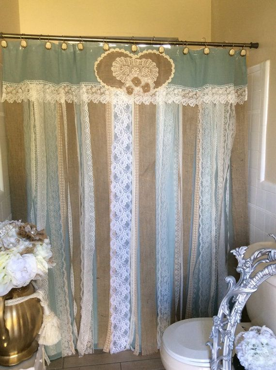 72 Shabby Rustic Chic Burlap Shower Curtain Lace By Shopboundless