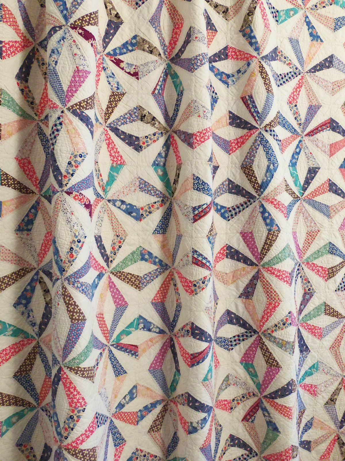 Vintage Handmade Quilt 1930s Endless Chain Maltese Cross W