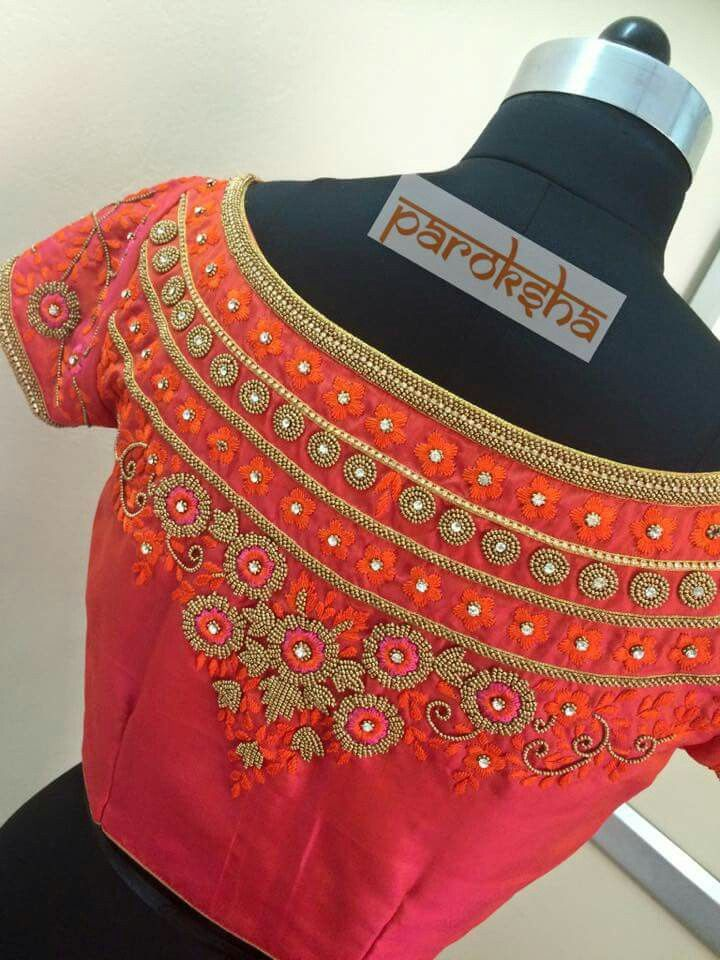 ed7b45b34490df boat neck embroidery blouse - back | blouses! !! | Blouse designs ...