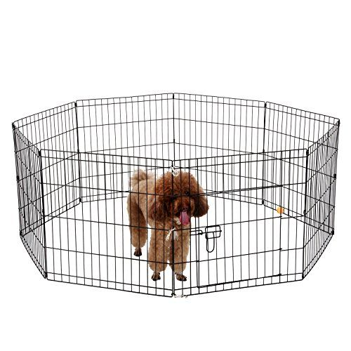 Ollieroo Dog Playpen With Door Exercise Pen Pet Outdoor Indoor Fence Cage 8 Panel Black Ecoat Small Click Image To Review More Details