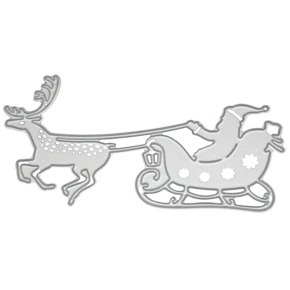 Santa Claus Reindeer Sleigh Metal Cutting Dies Stencil Scrapbooking Craft DIY
