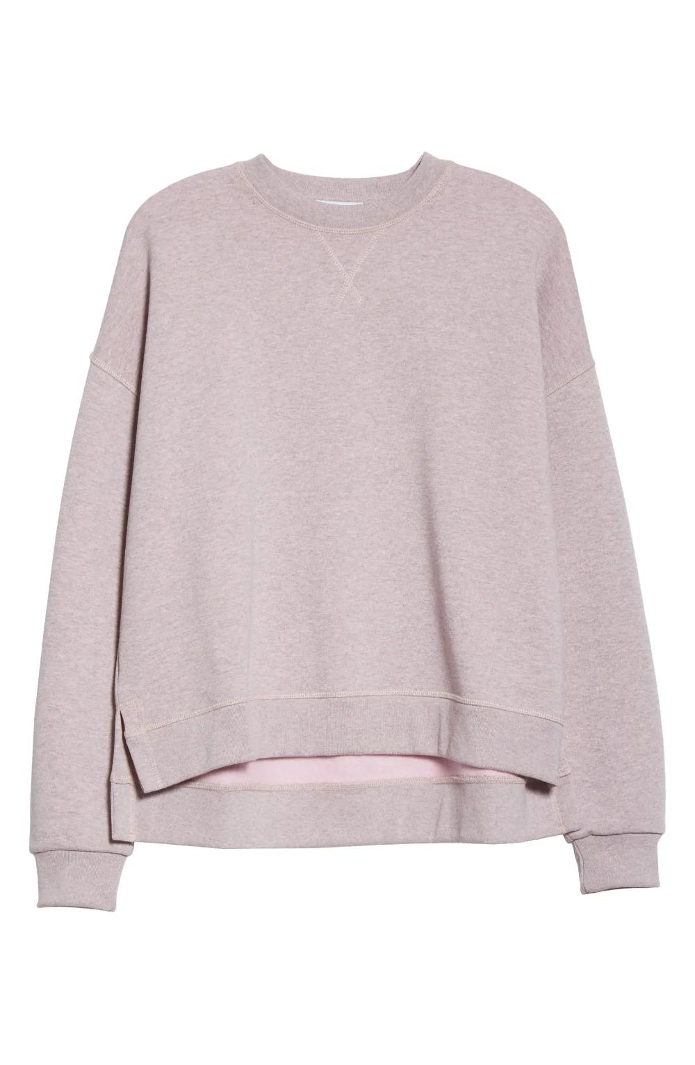Ganni Isoli High Low Cotton Blend Sweatshirt Nordstrom Designer Sweatshirts Sweatshirts Cotton Blend [ 1533 x 1000 Pixel ]