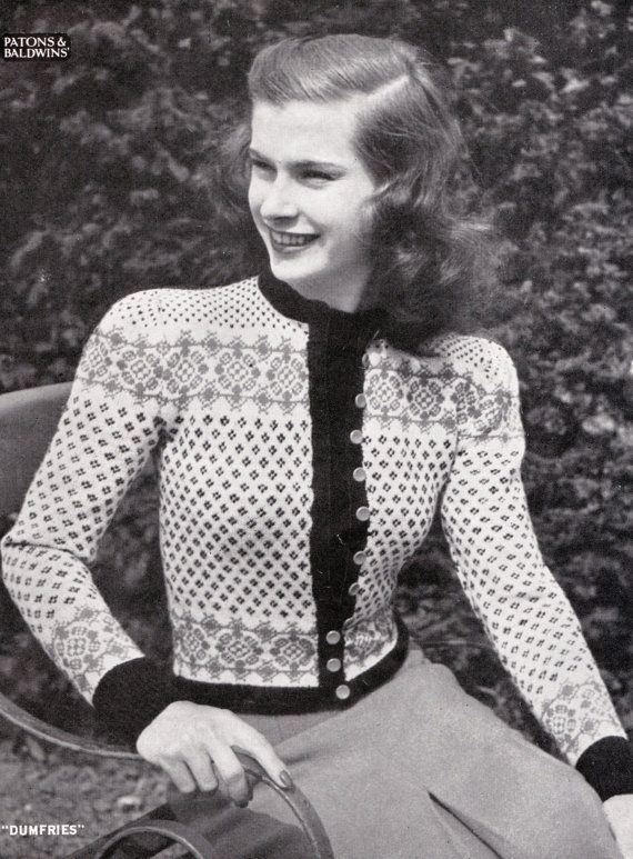 PDF vintage Fair Isle knitting patterns, 8 x 1950s women's and ...