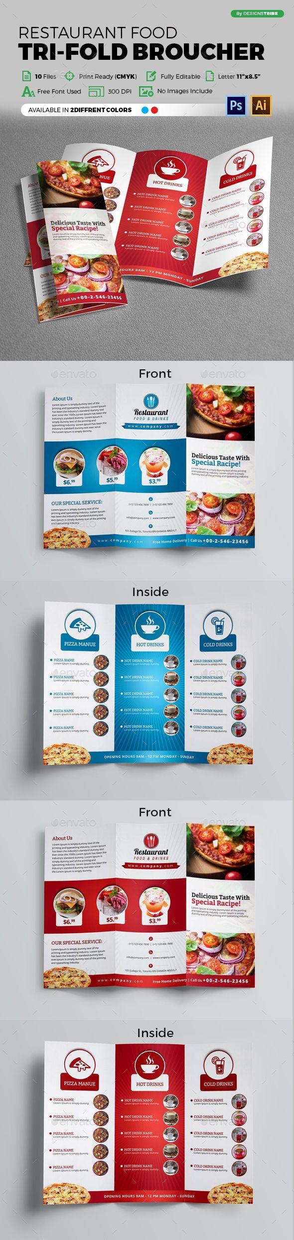 Restaurant Trifold Brochure | Folletos, Revistas y Tarjetas