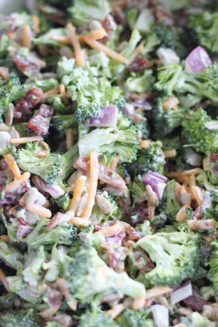 Keto Broccoli Salad with Bacon Keto Broccoli Salad With Bacon makes the best low carb cold broccoli salad recipe for holidays, potlucks, a healthy lunch meal prep or as a keto holiday recipes.