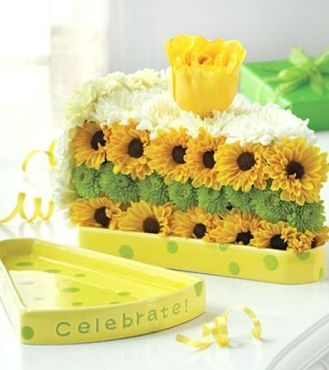 Awe Inspiring Slice Of Cake Made Of Flowers Unique Flower Arrangements Funny Birthday Cards Online Alyptdamsfinfo